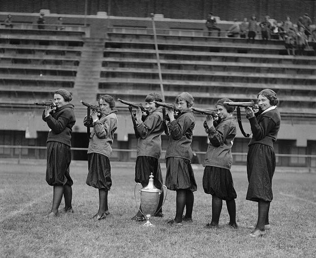 Girls' rifle team at Central High, Washington, DC. November 1922 (public domain image)
