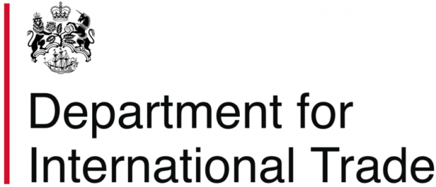 Logo for the Department for International Trade which features the words of the department beneath a crest